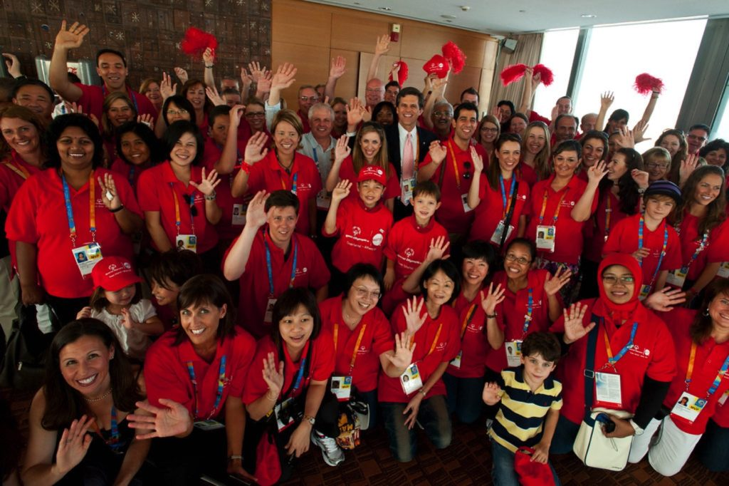 Volunteers gathered hours before the Special Olympics World Summer Games 2011 Opening Ceremony in Athens, Greece.